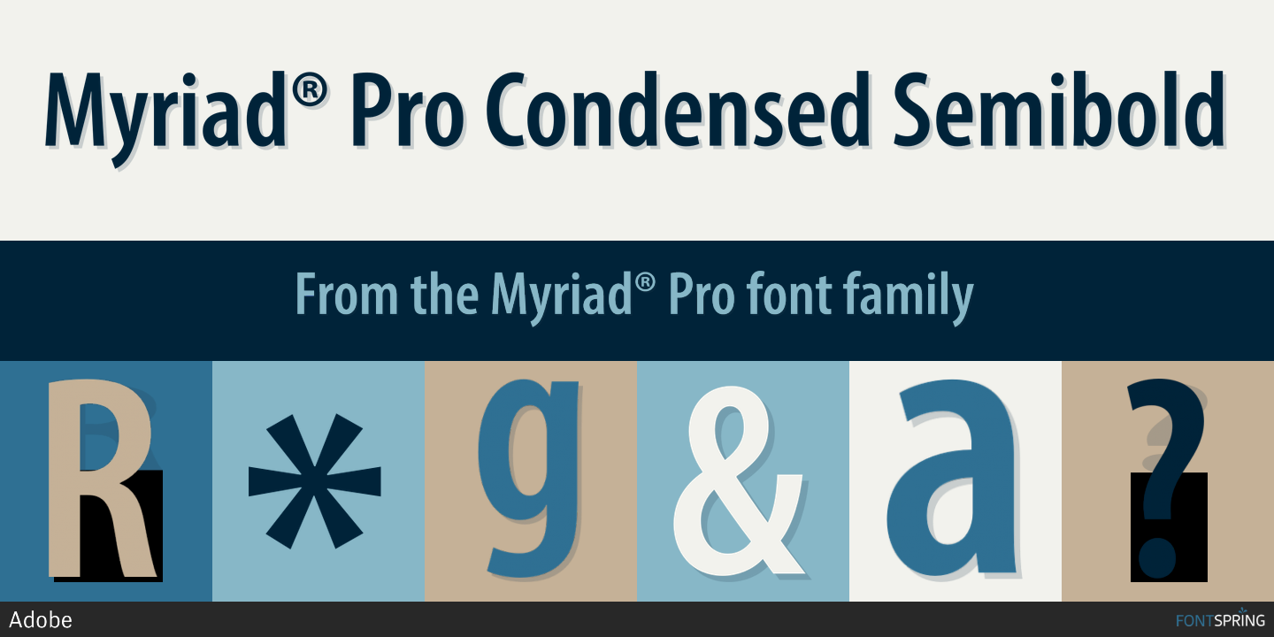 Myriad Pro Condensed Free Font - poksly