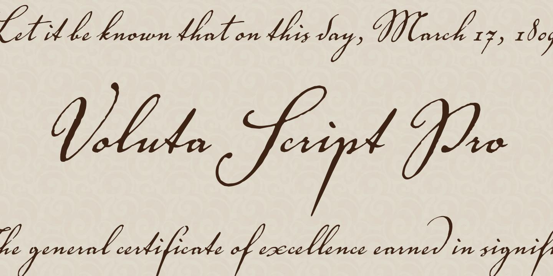 Fontspring voluta script pro font by adobe