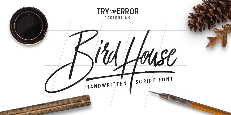 Fontspring bird house script font by angga mahardika for House lettering script
