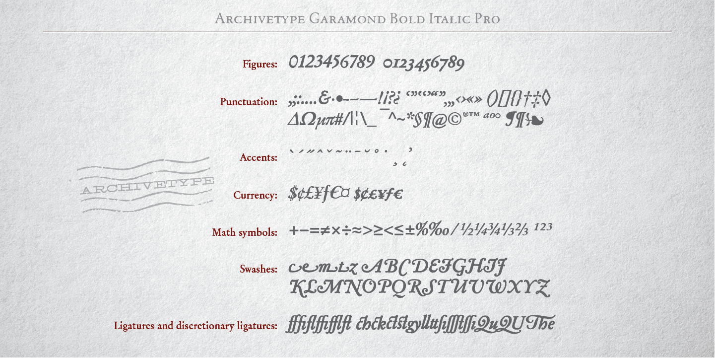 Fontspring | Archive Garamond Pro Fonts by ArchiveType