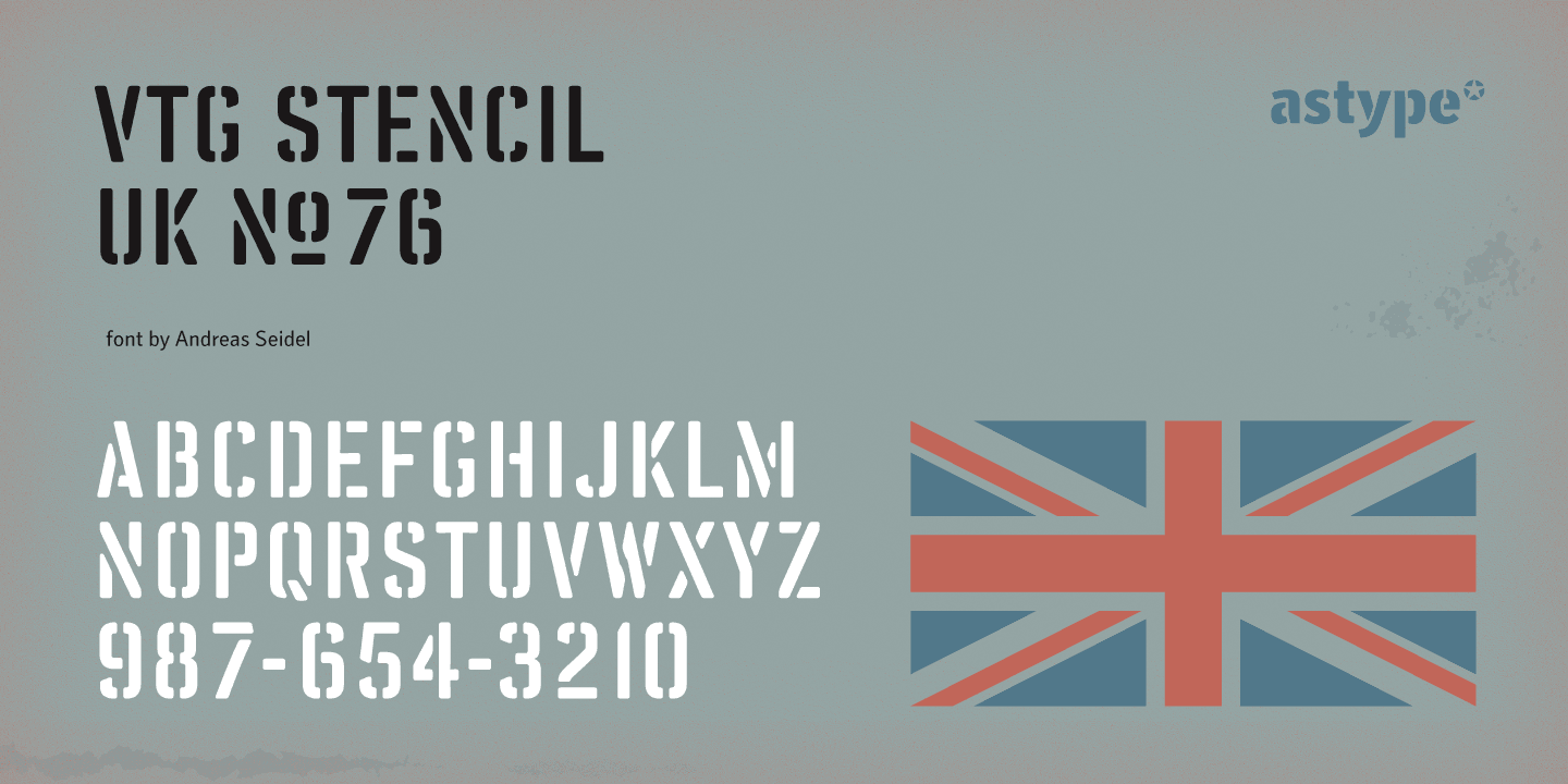 Vtg Stencil UK No.76 font family