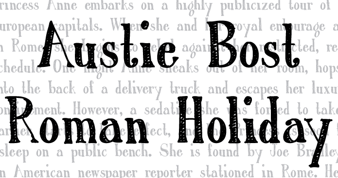 Austie Bost Roman Holiday Sketch font family