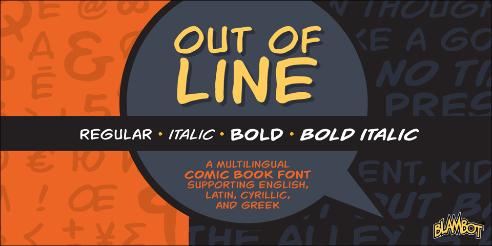 Fontspring | Out Of Line BB Fonts by Blambot
