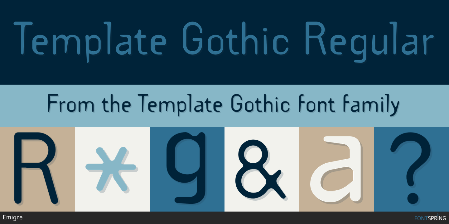 Fontspring similar fonts to template gothic for Template gothic font free