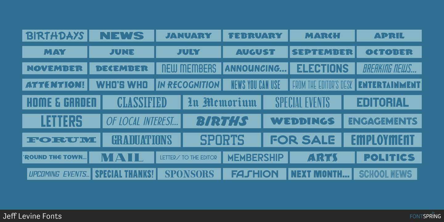 Monthly Newsletter | Fontspring Monthly Newsletter Jnl Font By Jeff Levine Fonts