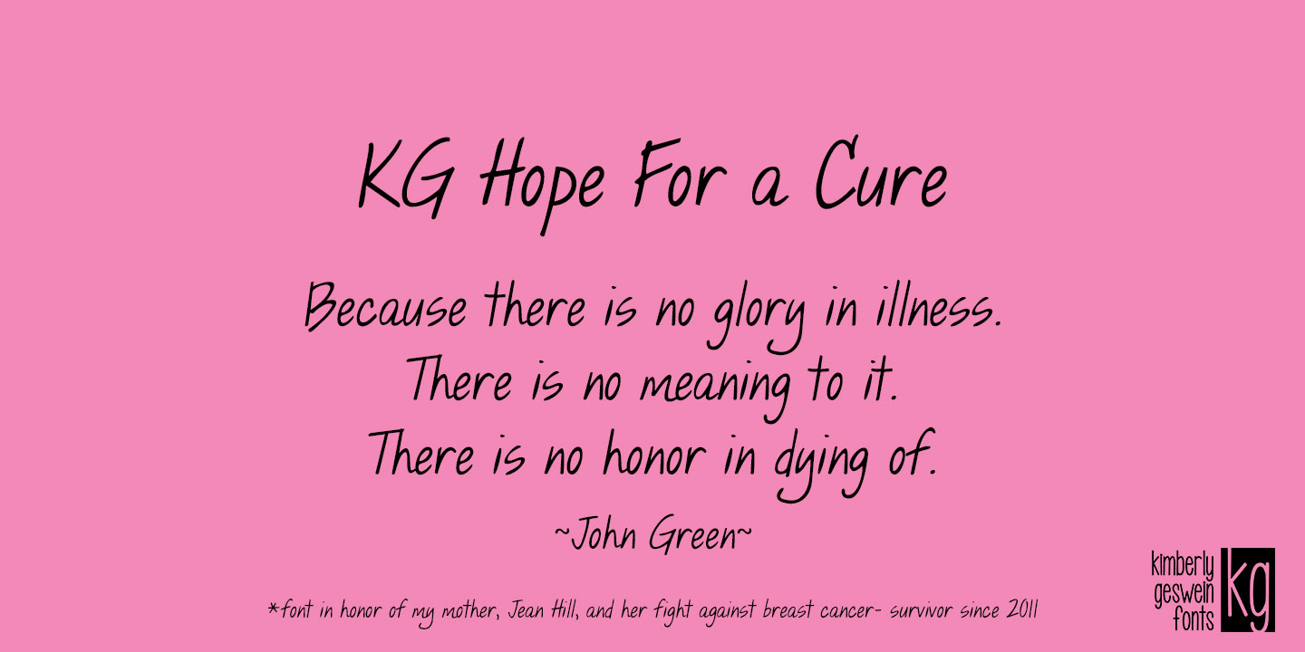 Fontspring | KG Hope For A Cure Font by Kimberly Geswein Fonts
