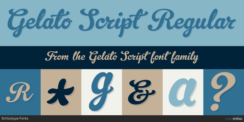 Gelato script otf (400) font.