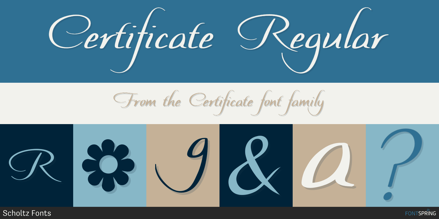 Fontspring Certificate Font By Scholtz Fonts