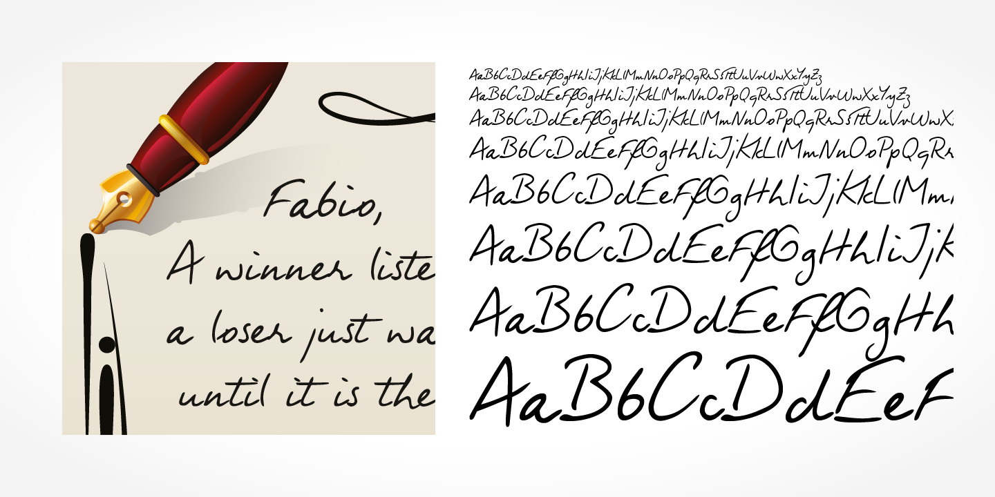 Fabio Handwriting font family - 4