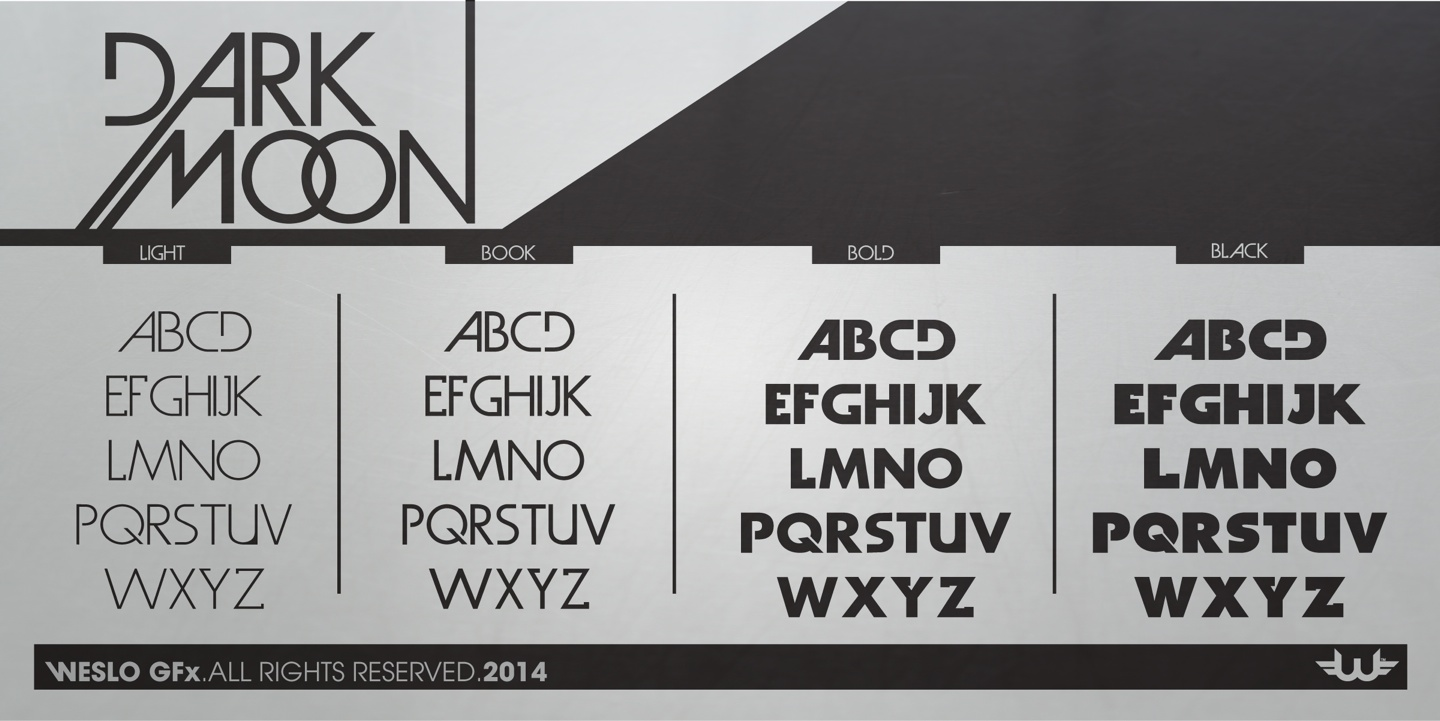 Fontspring   Dark Moon Fonts by Weslo Fonts