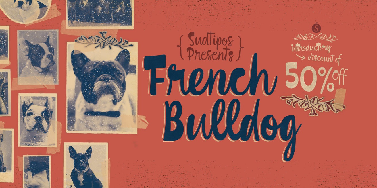 French Bulldog Script Poster